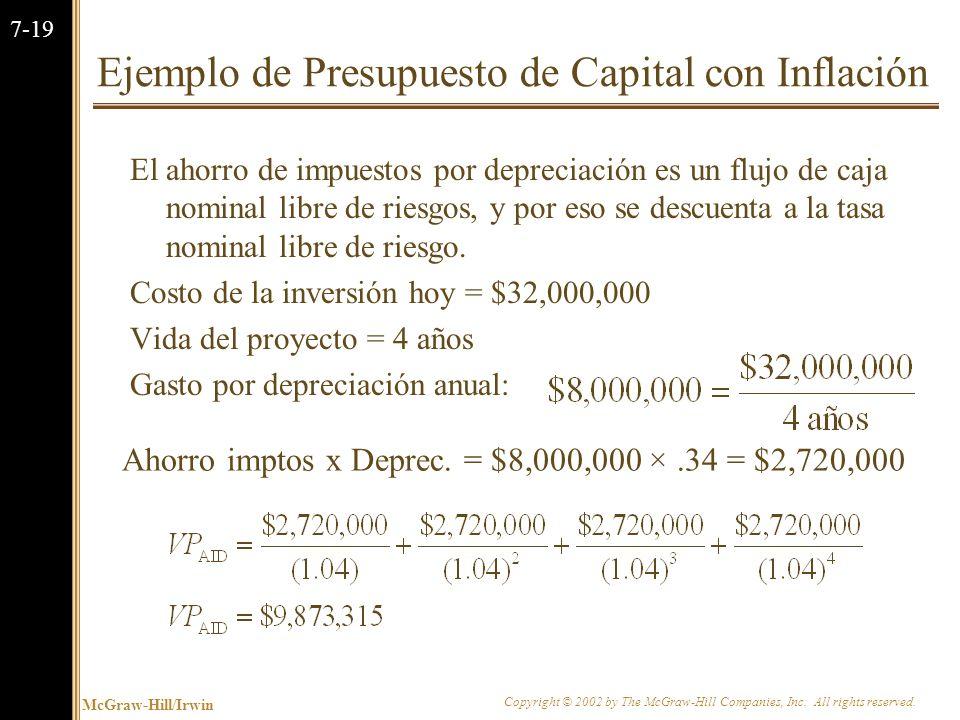 McGraw-Hill/Irwin Copyright © 2002 by The McGraw-Hill Companies, Inc. All rights reserved. 7-18 Ejemplo de Presupuesto de Capital con Inflación La tas