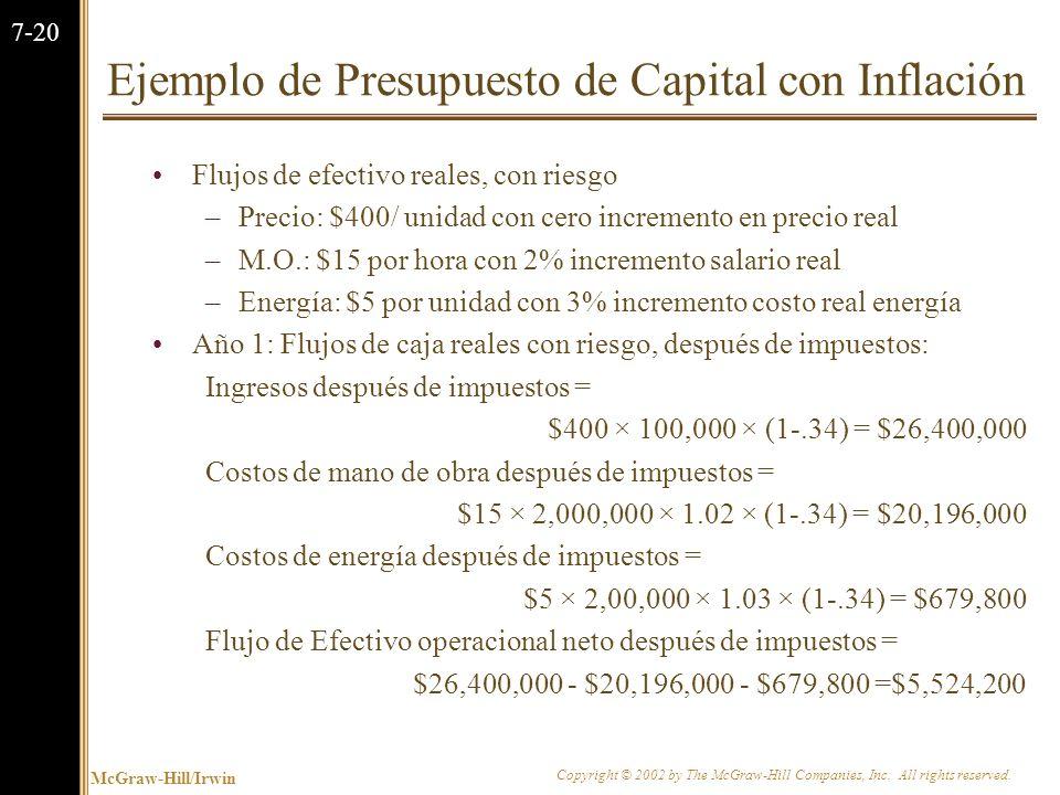 McGraw-Hill/Irwin Copyright © 2002 by The McGraw-Hill Companies, Inc. All rights reserved. 7-19 Ejemplo de Presupuesto de Capital con Inflación El aho