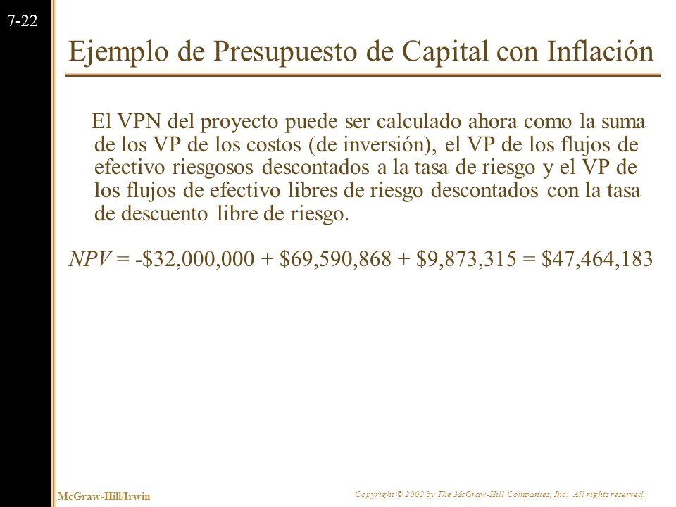 McGraw-Hill/Irwin Copyright © 2002 by The McGraw-Hill Companies, Inc. All rights reserved. 7-21 Ejemplo de Presupuesto de Capital con Inflación $ 5,52