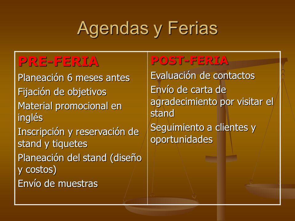Agendas y Ferias PRE-FERIA Planeación 6 meses antes Fijación de objetivos Material promocional en inglés Inscripción y reservación de stand y tiquetes