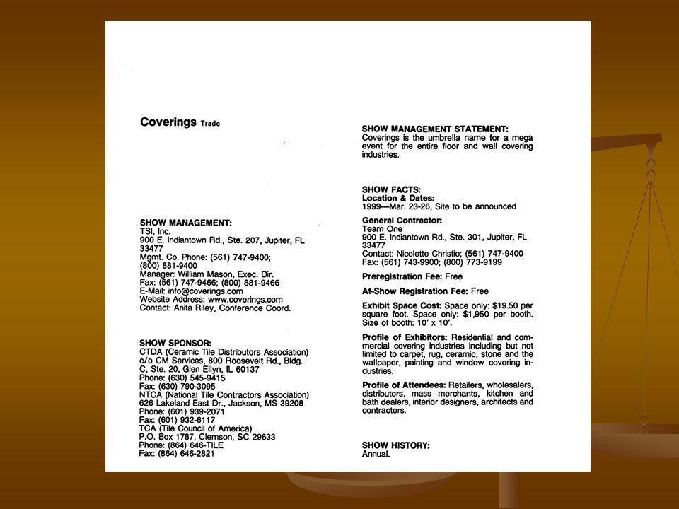 Agendas y Ferias PRE-FERIA Planeación 6 meses antes Fijación de objetivos Material promocional en inglés Inscripción y reservación de stand y tiquetes Planeación del stand (diseño y costos) Envío de muestras POST-FERIA Evaluación de contactos Envío de carta de agradecimiento por visitar el stand Seguimiento a clientes y oportunidades