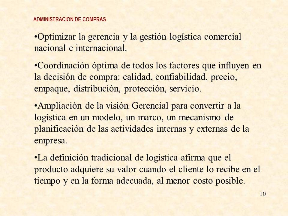 Optimizar la gerencia y la gestión logística comercial nacional e internacional. Coordinación óptima de todos los factores que influyen en la decisión