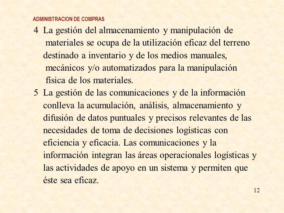 ADMINISTRACION DE COMPRAS 4 La gestión del almacenamiento y manipulación de materiales se ocupa de la utilización eficaz del terreno destinado a inven