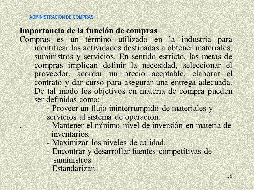ADMINISTRACION DE COMPRAS Importancia de la función de compras Compras es un término utilizado en la industria para identificar las actividades destin