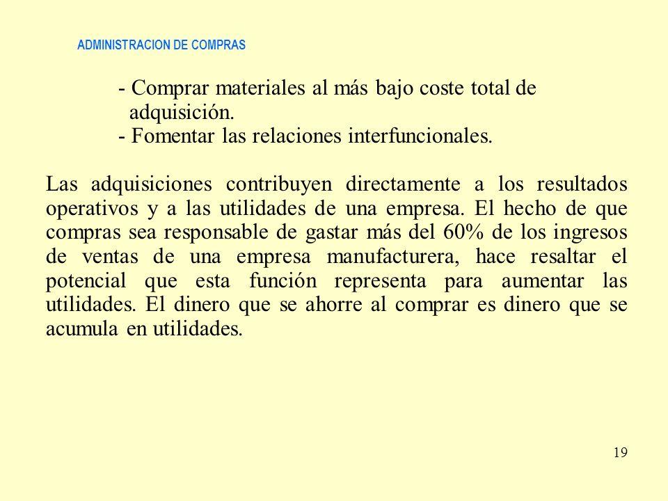 ADMINISTRACION DE COMPRAS - Comprar materiales al más bajo coste total de adquisición. - Fomentar las relaciones interfuncionales. Las adquisiciones c