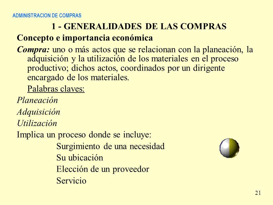 ADMINISTRACION DE COMPRAS 1 - GENERALIDADES DE LAS COMPRAS Concepto e importancia económica Compra: uno o más actos que se relacionan con la planeació
