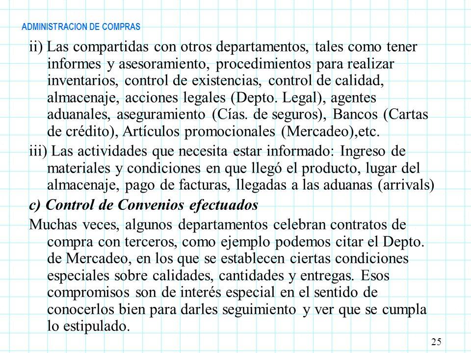 ADMINISTRACION DE COMPRAS ii) Las compartidas con otros departamentos, tales como tener informes y asesoramiento, procedimientos para realizar inventa