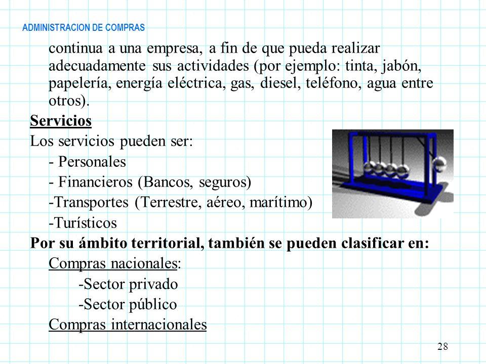 ADMINISTRACION DE COMPRAS continua a una empresa, a fin de que pueda realizar adecuadamente sus actividades (por ejemplo: tinta, jabón, papelería, ene