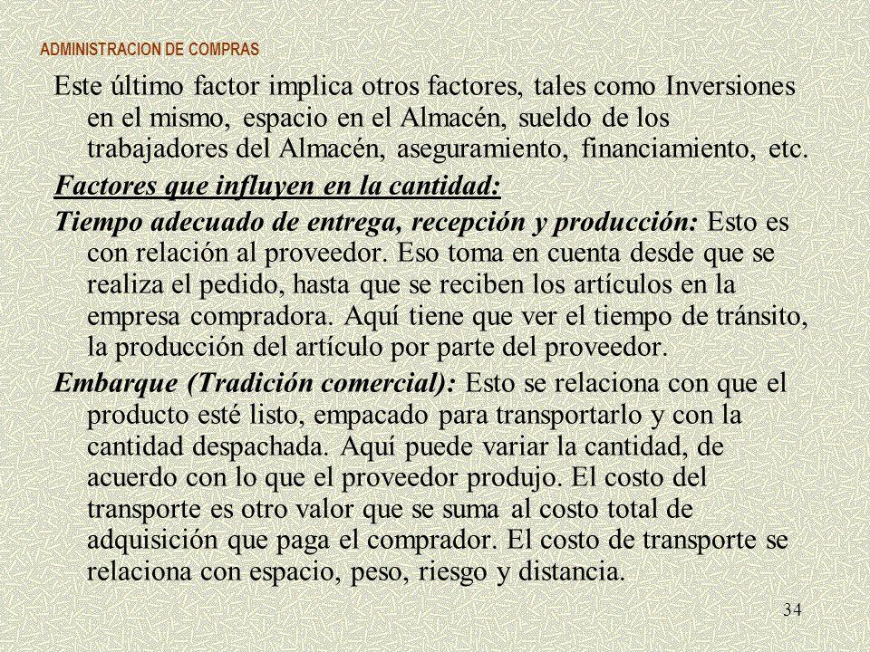 ADMINISTRACION DE COMPRAS Este último factor implica otros factores, tales como Inversiones en el mismo, espacio en el Almacén, sueldo de los trabajad
