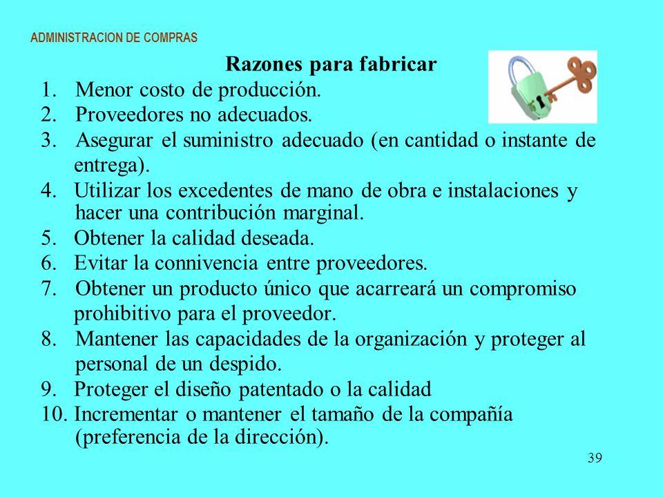 ADMINISTRACION DE COMPRAS Razones para fabricar 1. Menor costo de producción. 2. Proveedores no adecuados. 3.Asegurar el suministro adecuado (en canti