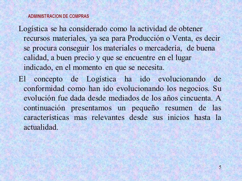 ADMINISTRACION DE COMPRAS Logística se ha considerado como la actividad de obtener recursos materiales, ya sea para Producción o Venta, es decir se pr