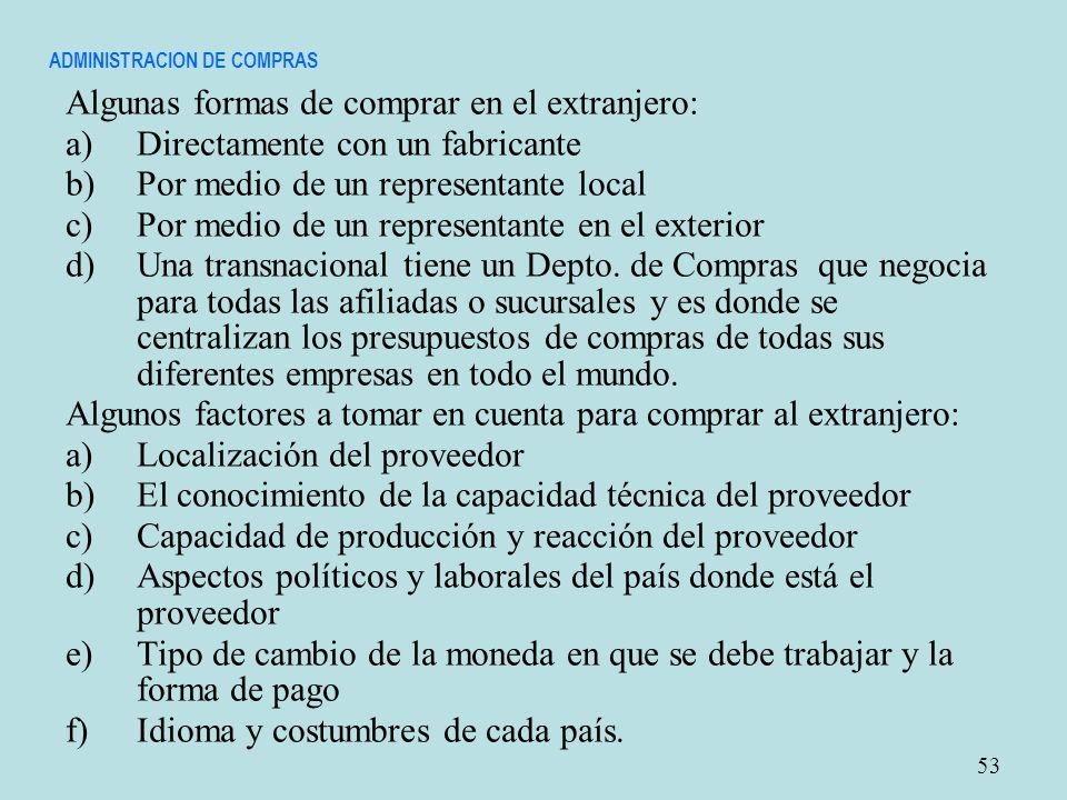 ADMINISTRACION DE COMPRAS Algunas formas de comprar en el extranjero: a)Directamente con un fabricante b)Por medio de un representante local c)Por med