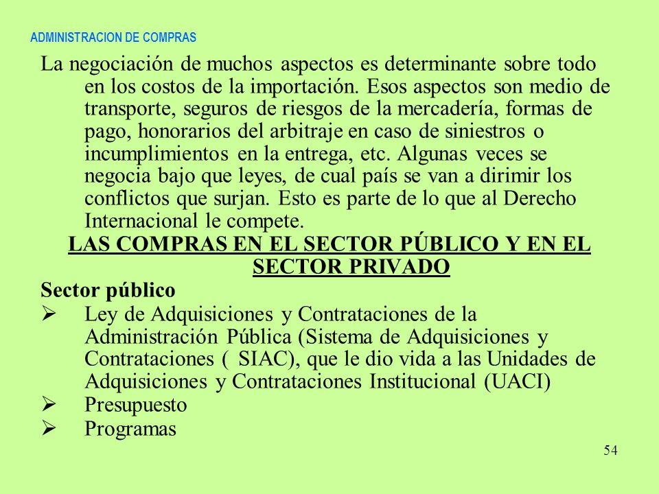 ADMINISTRACION DE COMPRAS La negociación de muchos aspectos es determinante sobre todo en los costos de la importación. Esos aspectos son medio de tra