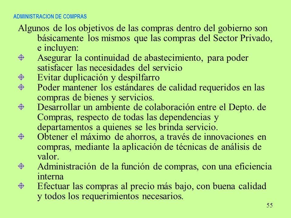 ADMINISTRACION DE COMPRAS Algunos de los objetivos de las compras dentro del gobierno son básicamente los mismos que las compras del Sector Privado, e