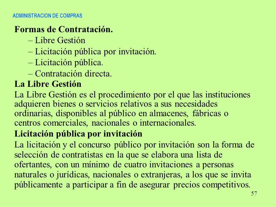ADMINISTRACION DE COMPRAS Formas de Contratación. – Libre Gestión – Licitación pública por invitación. – Licitación pública. – Contratación directa. L