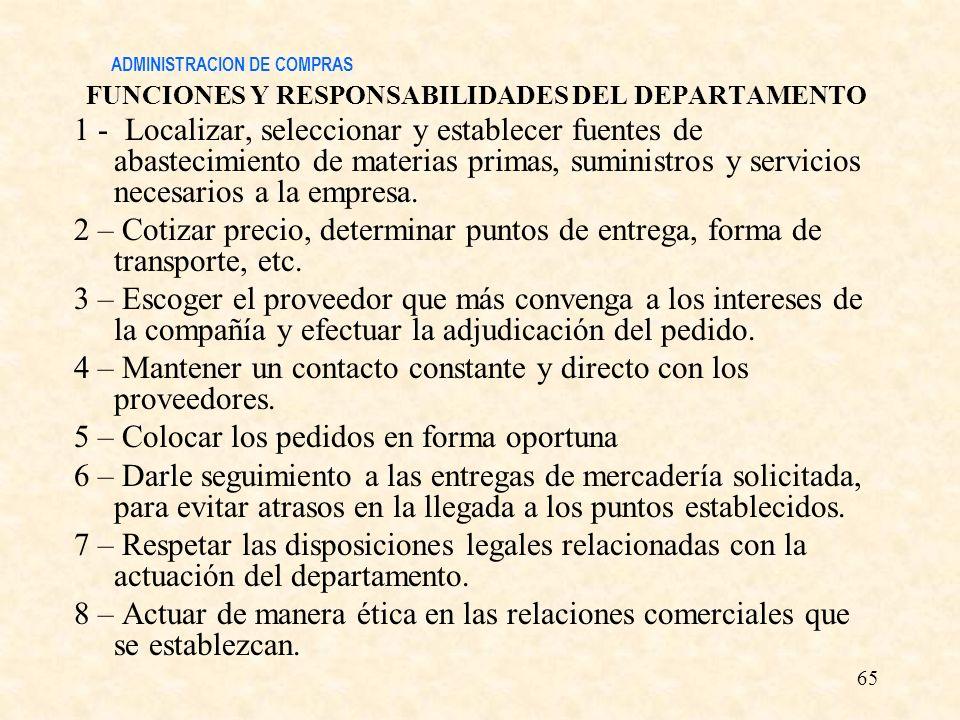 ADMINISTRACION DE COMPRAS FUNCIONES Y RESPONSABILIDADES DEL DEPARTAMENTO 1 - Localizar, seleccionar y establecer fuentes de abastecimiento de materias