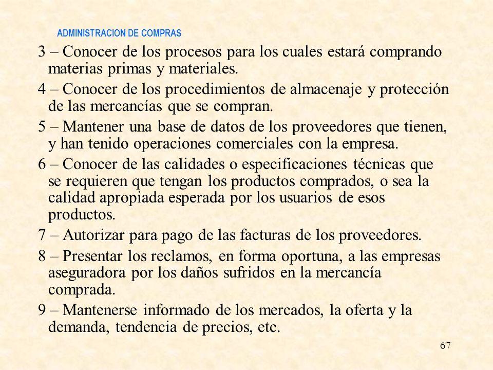 ADMINISTRACION DE COMPRAS 3 – Conocer de los procesos para los cuales estará comprando materias primas y materiales. 4 – Conocer de los procedimientos