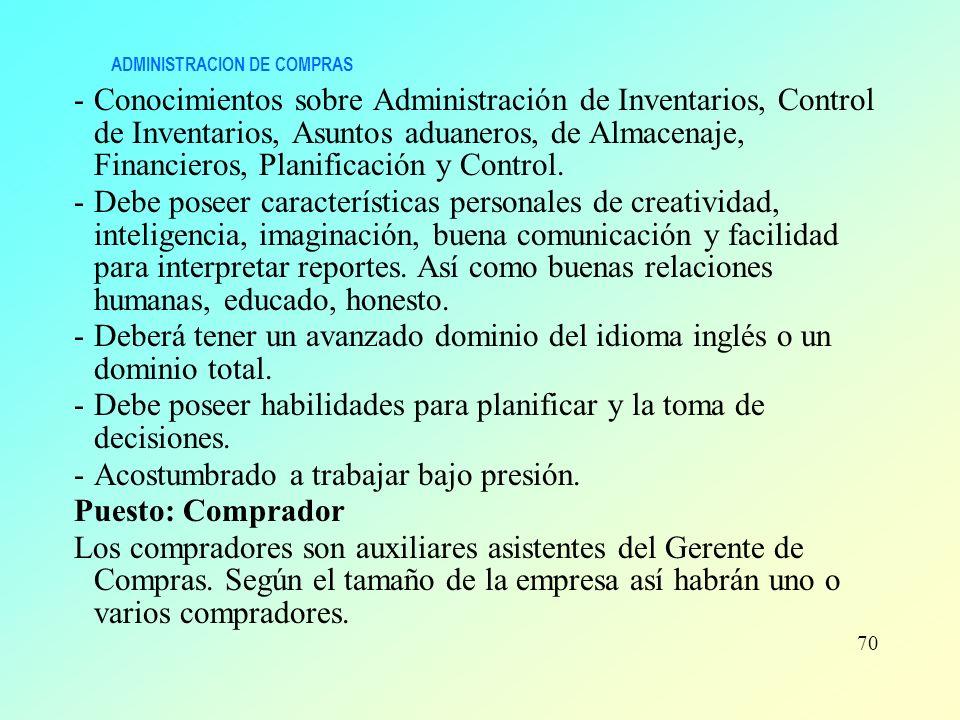 ADMINISTRACION DE COMPRAS -Conocimientos sobre Administración de Inventarios, Control de Inventarios, Asuntos aduaneros, de Almacenaje, Financieros, P