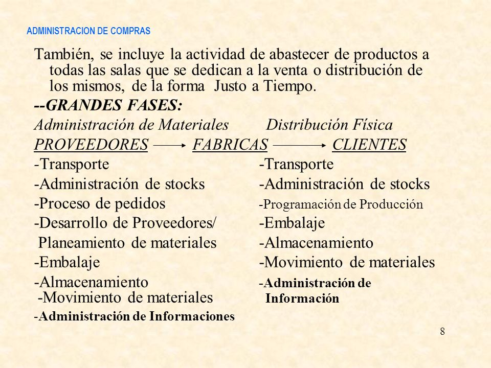 ADMINISTRACION DE COMPRAS También, se incluye la actividad de abastecer de productos a todas las salas que se dedican a la venta o distribución de los