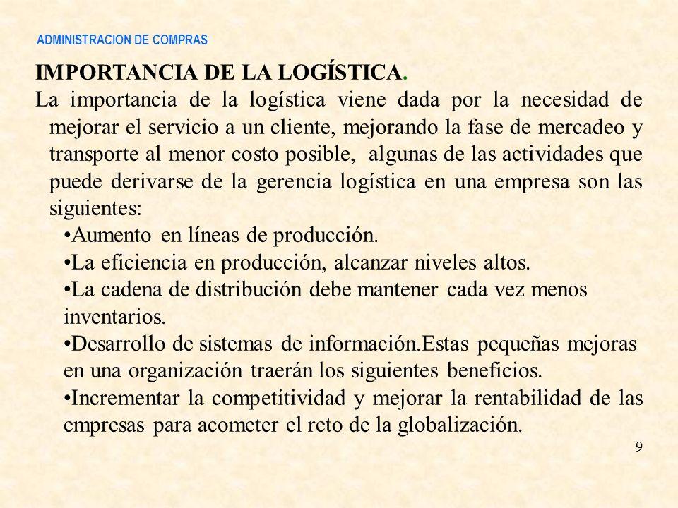 IMPORTANCIA DE LA LOGÍSTICA. La importancia de la logística viene dada por la necesidad de mejorar el servicio a un cliente, mejorando la fase de merc