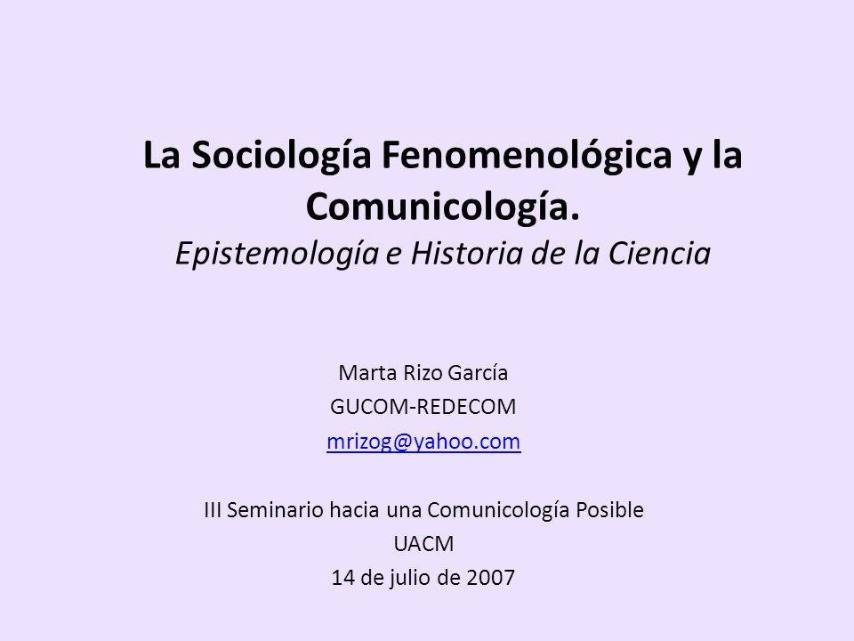IV. Epistemología de la SF y Comunicología Posible