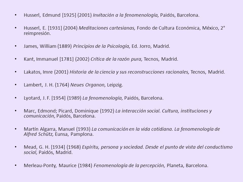 Husserl, Edmund [1925] (2001) Invitación a la fenomenología, Paidós, Barcelona. Husserl, E. [1931] (2004) Meditaciones cartesianas, Fondo de Cultura E