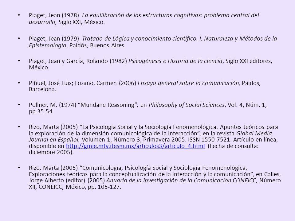 Piaget, Jean (1978) La equilibración de las estructuras cognitivas: problema central del desarrollo, Siglo XXI, México. Piaget, Jean (1979) Tratado de