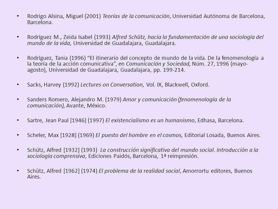 Rodrigo Alsina, Miguel (2001) Teorías de la comunicación, Universidad Autónoma de Barcelona, Barcelona. Rodríguez M., Zeida Isabel (1993) Alfred Schüt
