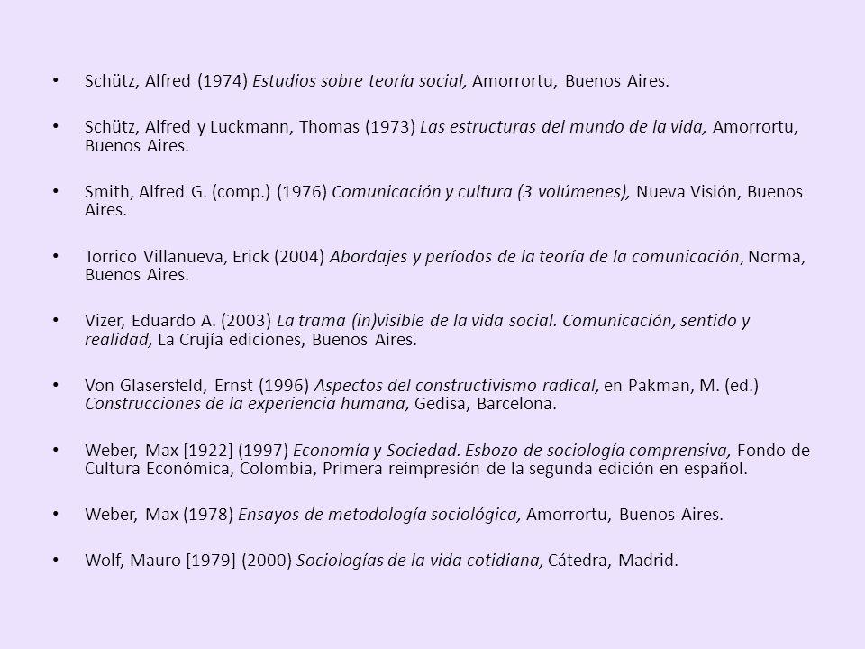 Schütz, Alfred (1974) Estudios sobre teoría social, Amorrortu, Buenos Aires. Schütz, Alfred y Luckmann, Thomas (1973) Las estructuras del mundo de la