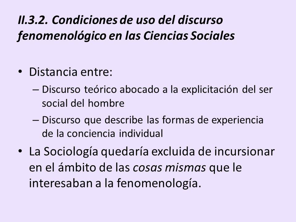 II.3.2. Condiciones de uso del discurso fenomenológico en las Ciencias Sociales Distancia entre: – Discurso teórico abocado a la explicitación del ser