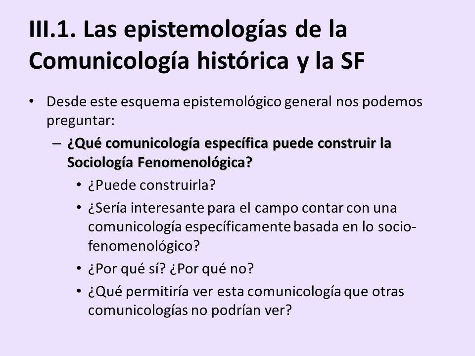 III.1. Las epistemologías de la Comunicología histórica y la SF Desde este esquema epistemológico general nos podemos preguntar: – ¿Qué comunicología