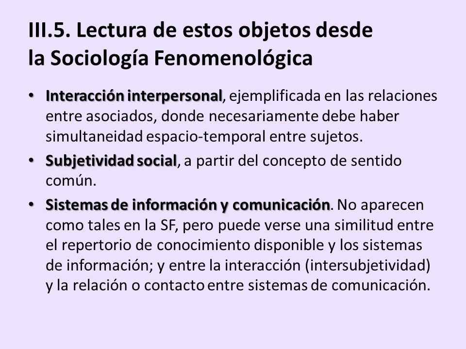 III.5. Lectura de estos objetos desde la Sociología Fenomenológica Interacción interpersonal Interacción interpersonal, ejemplificada en las relacione