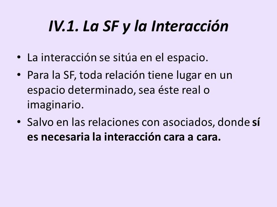 IV.1. La SF y la Interacción La interacción se sitúa en el espacio. Para la SF, toda relación tiene lugar en un espacio determinado, sea éste real o i
