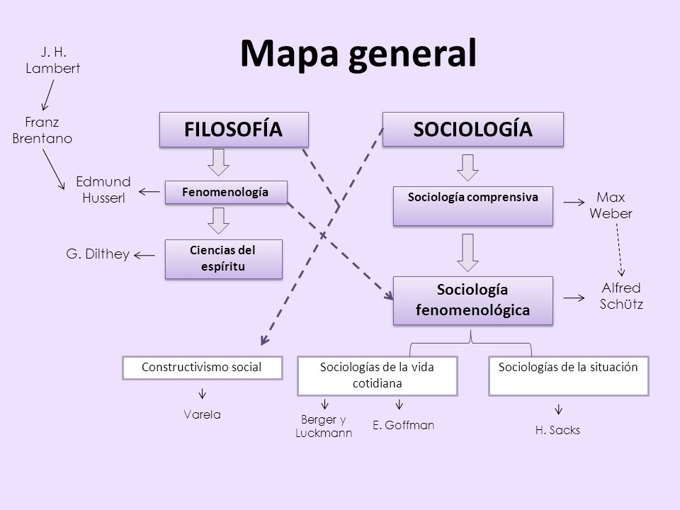 Mapa general FILOSOFÍA SOCIOLOGÍA Sociología fenomenológica Sociologías de la situaciónSociologías de la vida cotidiana Sociología comprensiva Max Web