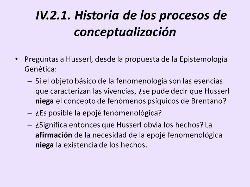 IV.2.1. Historia de los procesos de conceptualización Preguntas a Husserl, desde la propuesta de la Epistemología Genética: – Si el objeto básico de l