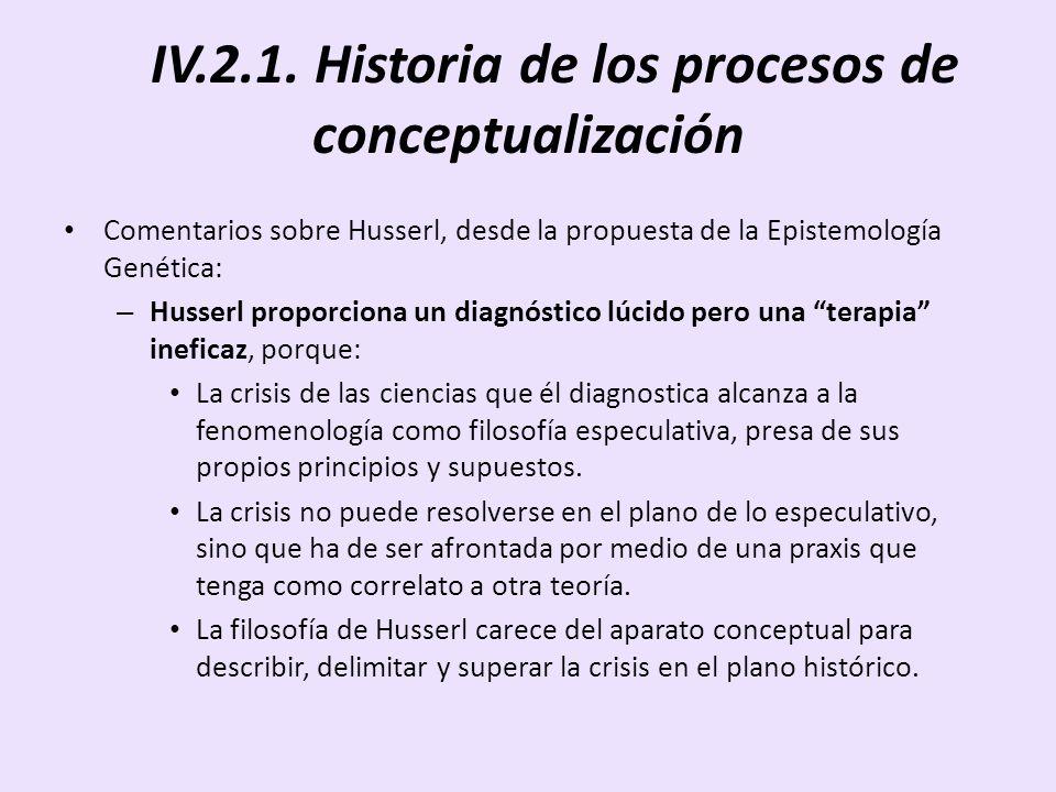 IV.2.1. Historia de los procesos de conceptualización Comentarios sobre Husserl, desde la propuesta de la Epistemología Genética: – Husserl proporcion