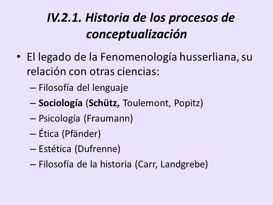 IV.2.1. Historia de los procesos de conceptualización El legado de la Fenomenología husserliana, su relación con otras ciencias: – Filosofía del lengu