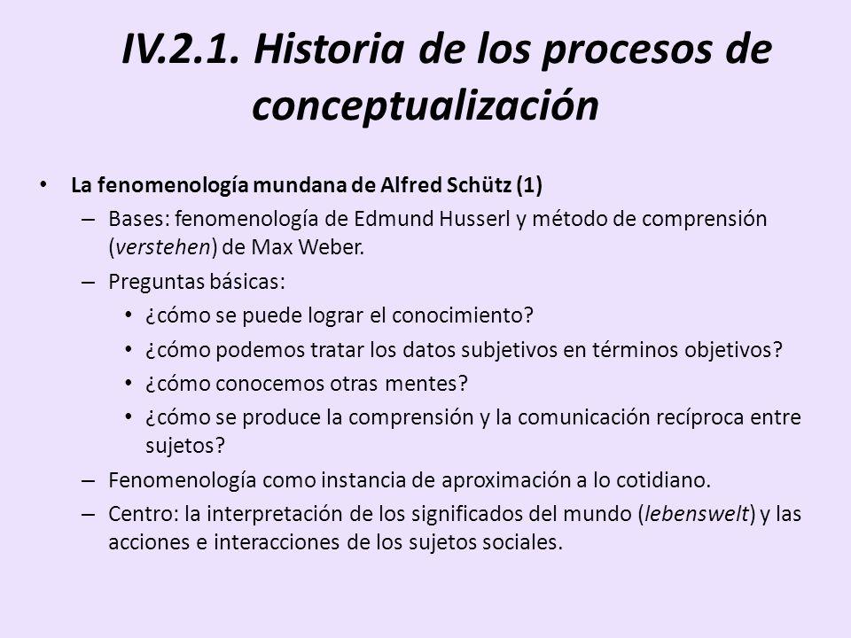 IV.2.1. Historia de los procesos de conceptualización La fenomenología mundana de Alfred Schütz (1) – Bases: fenomenología de Edmund Husserl y método