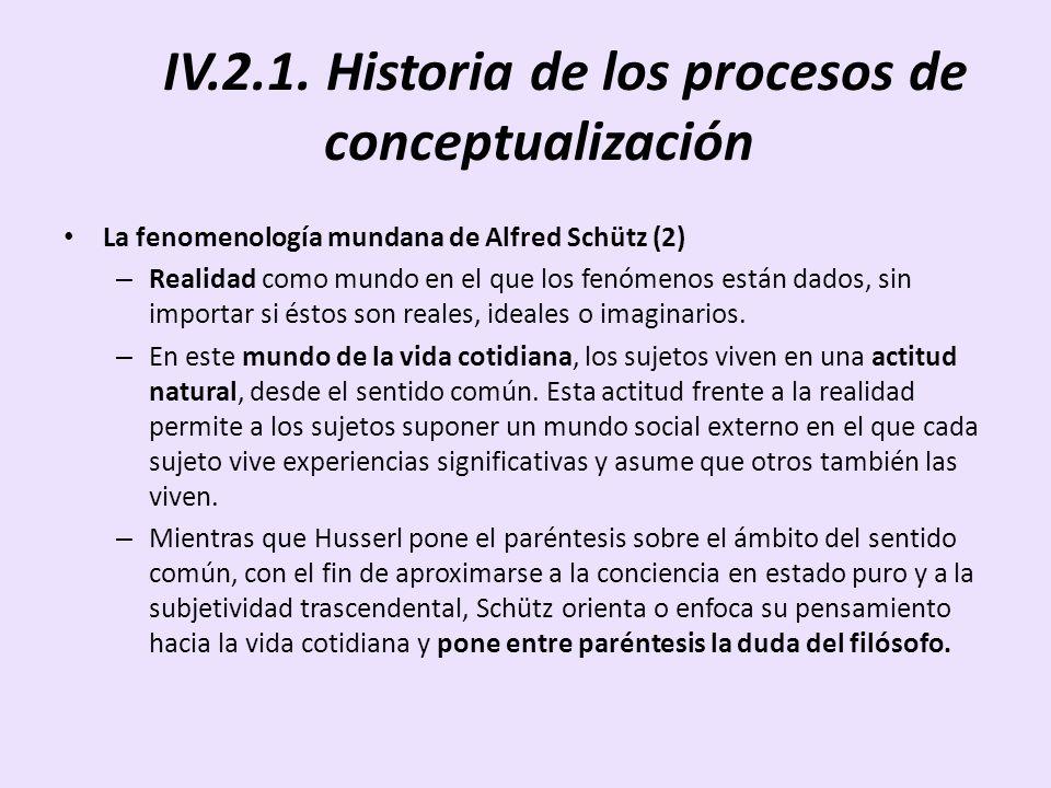 IV.2.1. Historia de los procesos de conceptualización La fenomenología mundana de Alfred Schütz (2) – Realidad como mundo en el que los fenómenos está