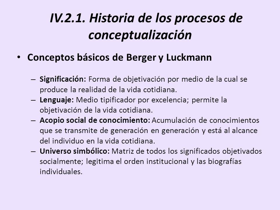 IV.2.1. Historia de los procesos de conceptualización Conceptos básicos de Berger y Luckmann – Significación: Forma de objetivación por medio de la cu