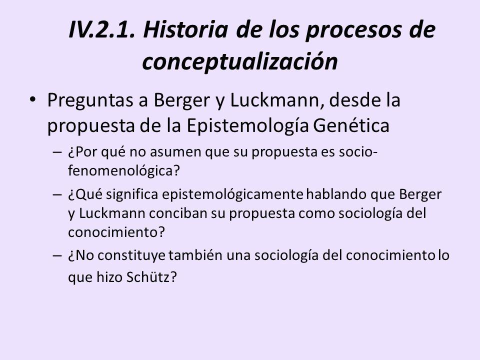 IV.2.1. Historia de los procesos de conceptualización Preguntas a Berger y Luckmann, desde la propuesta de la Epistemología Genética – ¿Por qué no asu