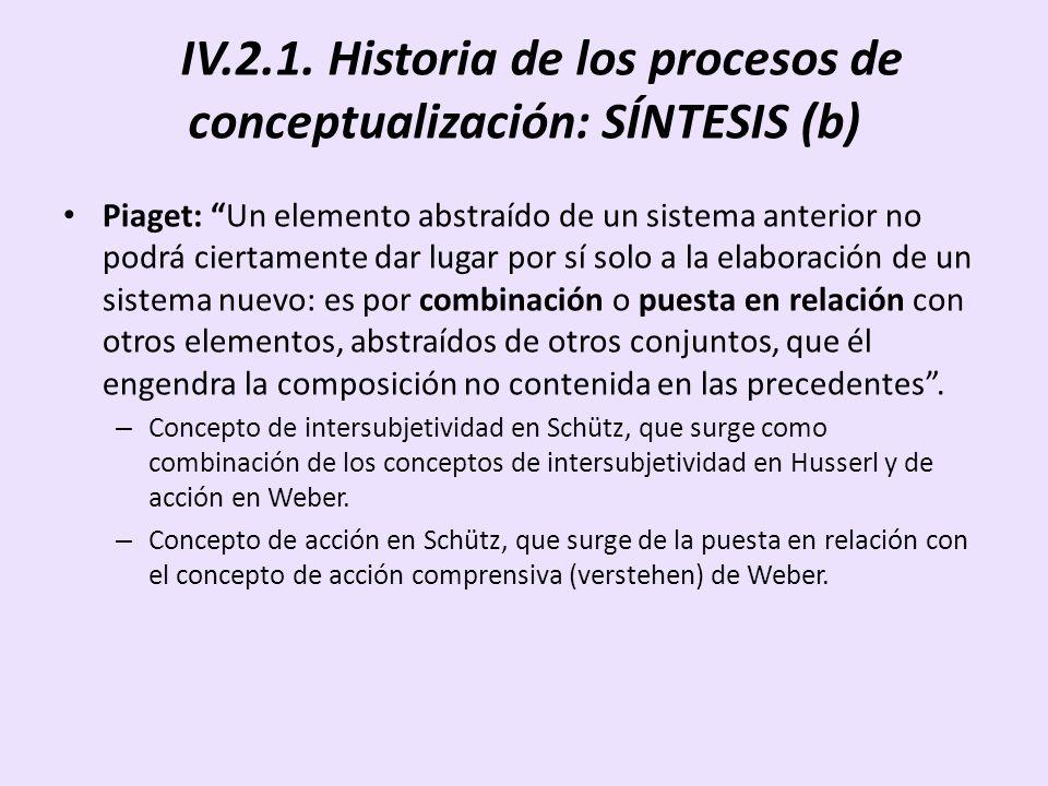 IV.2.1. Historia de los procesos de conceptualización: SÍNTESIS (b) Piaget: Un elemento abstraído de un sistema anterior no podrá ciertamente dar luga