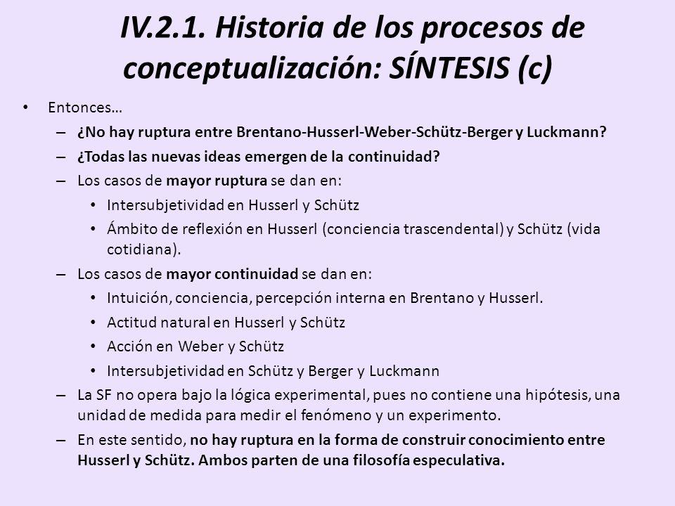 IV.2.1. Historia de los procesos de conceptualización: SÍNTESIS (c) Entonces… – ¿No hay ruptura entre Brentano-Husserl-Weber-Schütz-Berger y Luckmann?