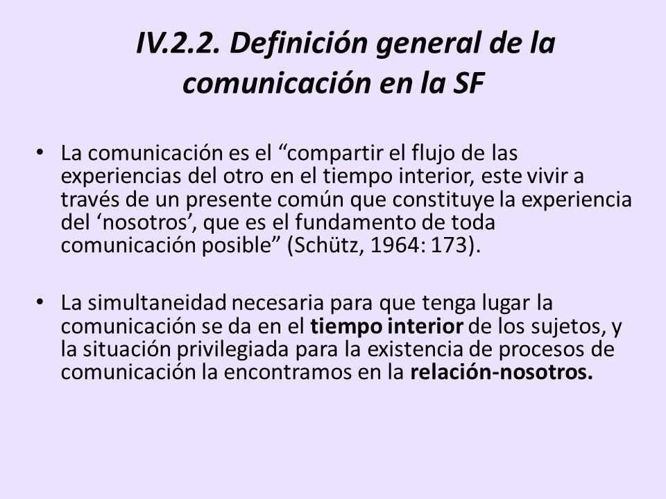 IV.2.2. Definición general de la comunicación en la SF La comunicación es el compartir el flujo de las experiencias del otro en el tiempo interior, es