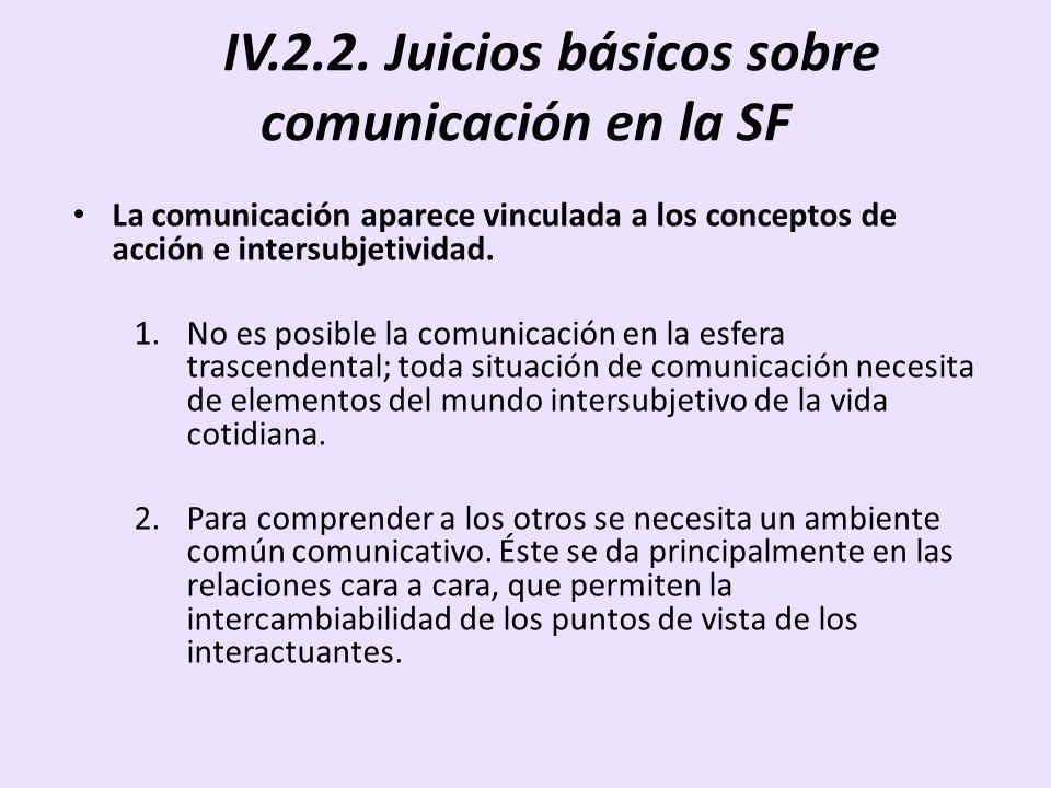 IV.2.2. Juicios básicos sobre comunicación en la SF La comunicación aparece vinculada a los conceptos de acción e intersubjetividad. 1.No es posible l