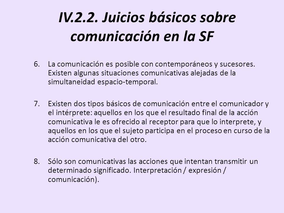 IV.2.2. Juicios básicos sobre comunicación en la SF 6.La comunicación es posible con contemporáneos y sucesores. Existen algunas situaciones comunicat