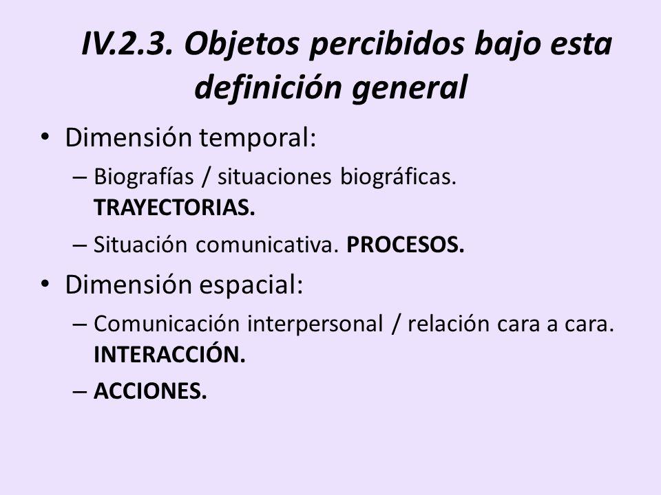 IV.2.3. Objetos percibidos bajo esta definición general Dimensión temporal: – Biografías / situaciones biográficas. TRAYECTORIAS. – Situación comunica