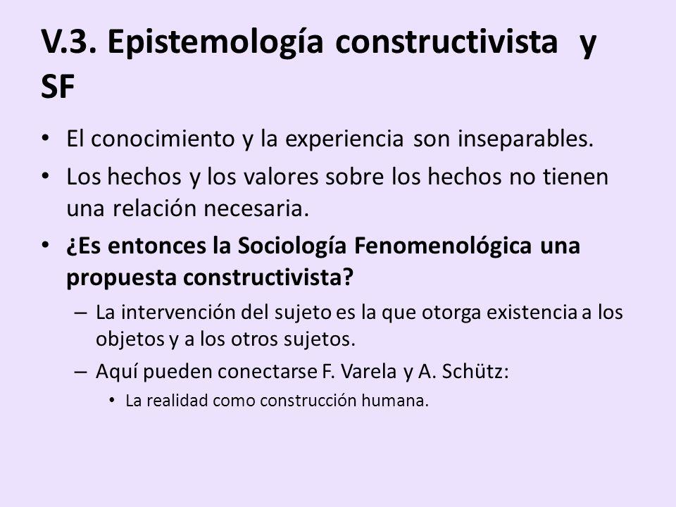 V.3. Epistemología constructivista y SF El conocimiento y la experiencia son inseparables. Los hechos y los valores sobre los hechos no tienen una rel