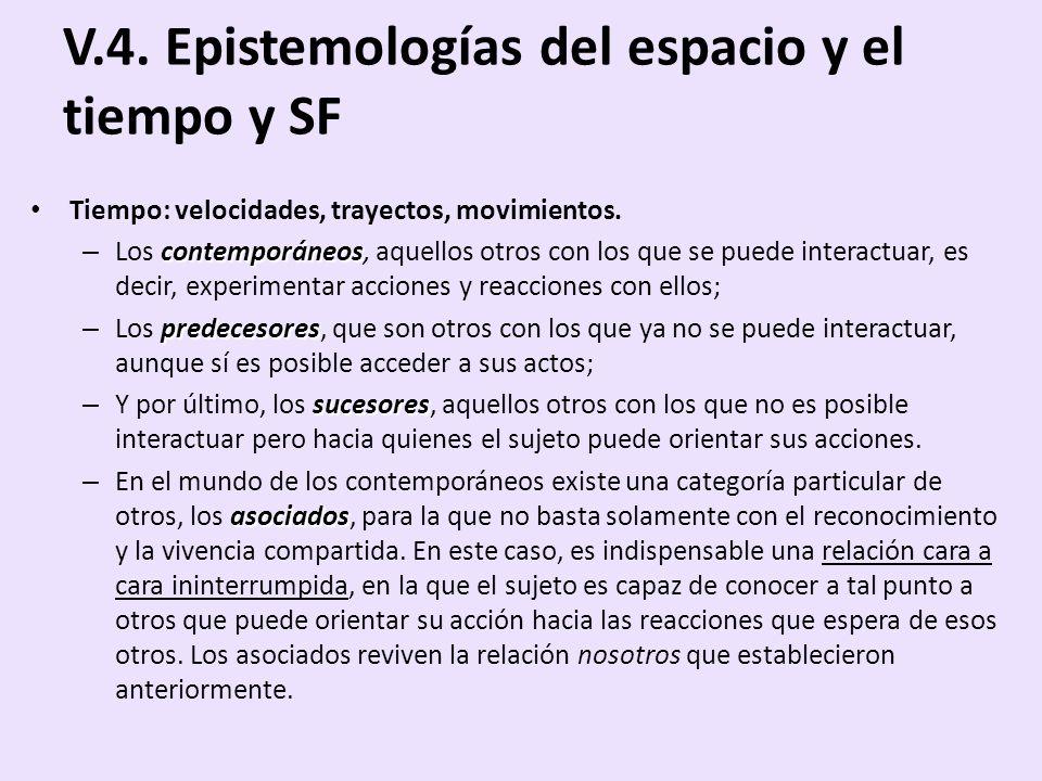 V.4. Epistemologías del espacio y el tiempo y SF Tiempo: velocidades, trayectos, movimientos. contemporáneos – Los contemporáneos, aquellos otros con