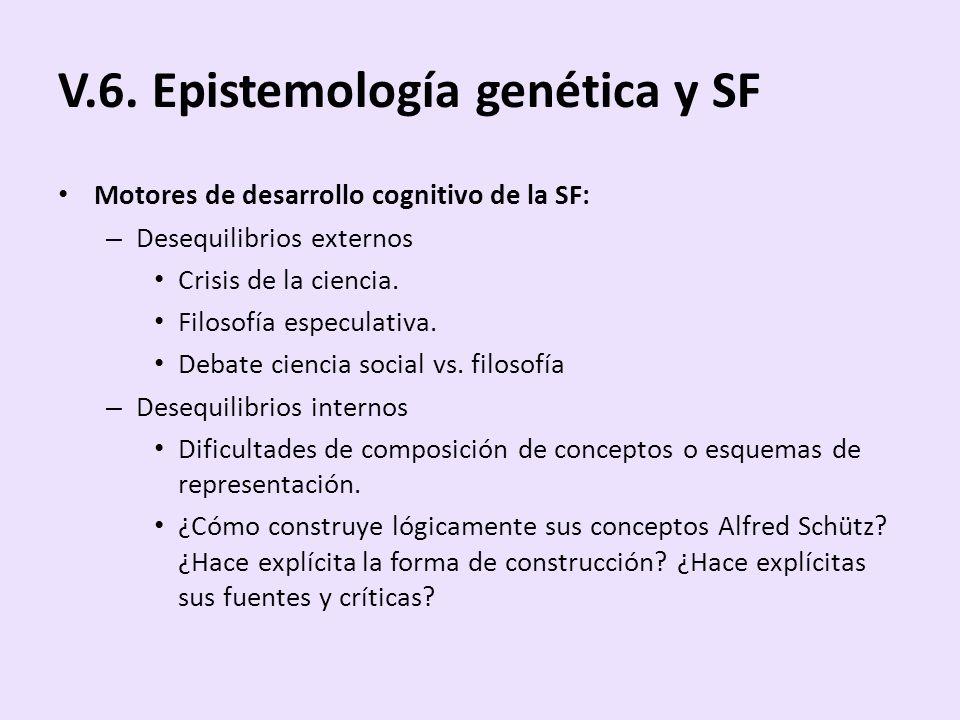 V.6. Epistemología genética y SF Motores de desarrollo cognitivo de la SF: – Desequilibrios externos Crisis de la ciencia. Filosofía especulativa. Deb